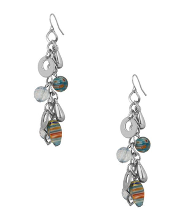 Voylla Dangler Earrings With Silver Plated Rings; Blue; Coloured Beads