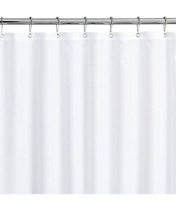 White 78 Inches Water Long Repellent Fabric Shower Curtain