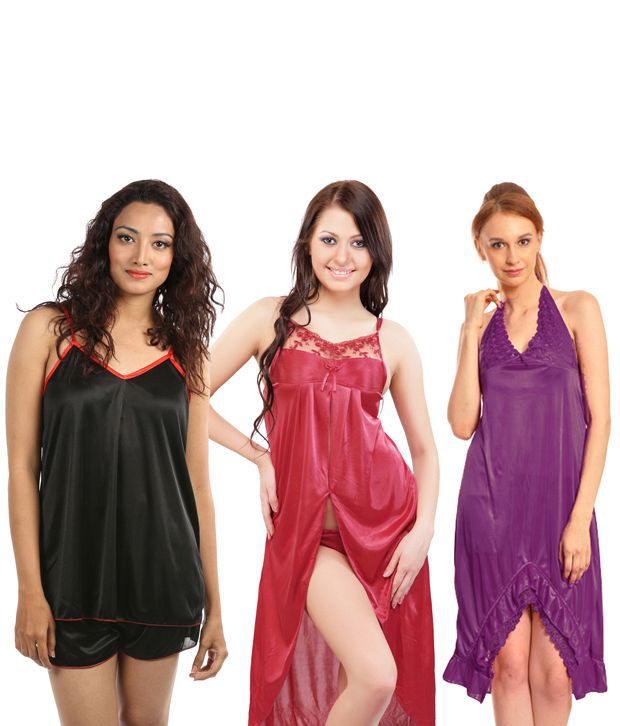 Buy Klamotten Black Satin Nighty   Night Gowns Pack of 2 Online at Best  Prices in India - Snapdeal d6c193bc7