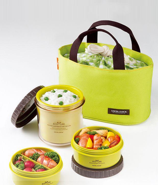 Lock N Lock Eco Life Lunch Box Set With Green Bag: Buy ...