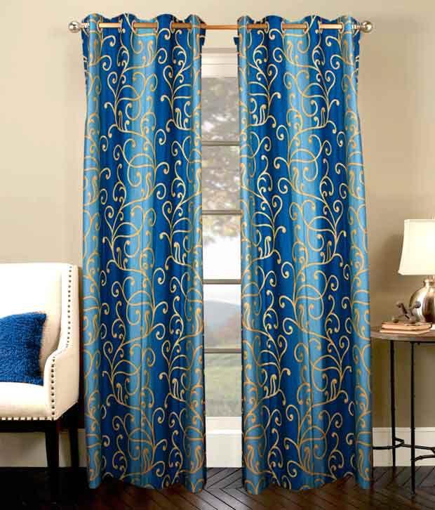 Shandar Rose Blue Window Curtains Set Of 25 Feet Blue