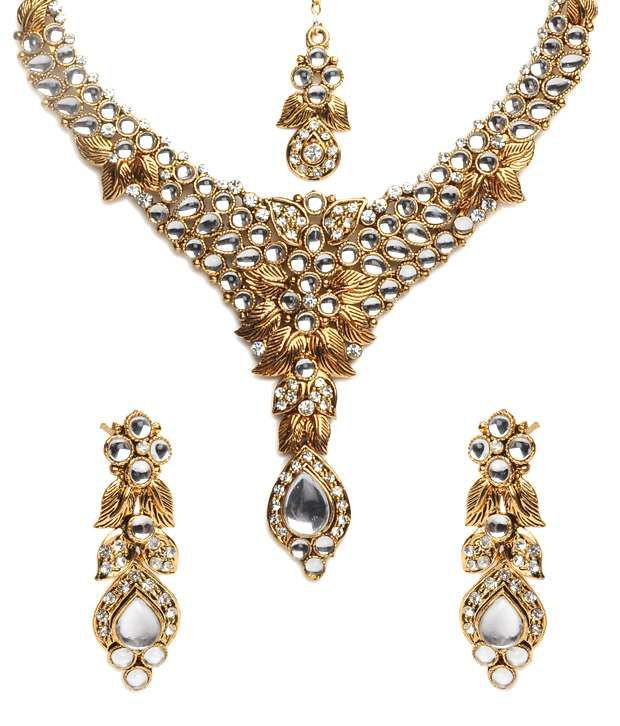 ShinningDiva Kundan Necklace Set with Maang Tika