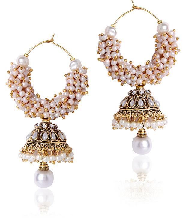 Shiningdiva White Beaded Jhumki Style Earrings Buy Shiningdiva White Beaded Jhumki Style