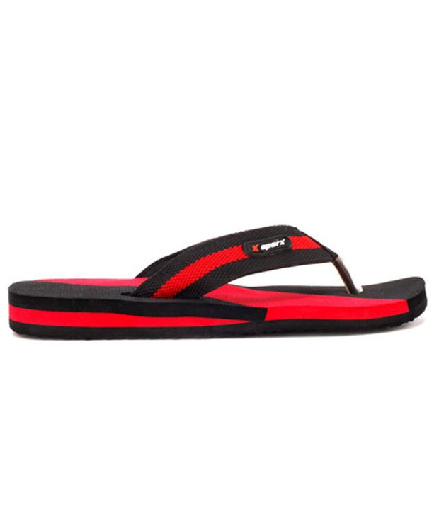 Sparx Black & Red Slippers