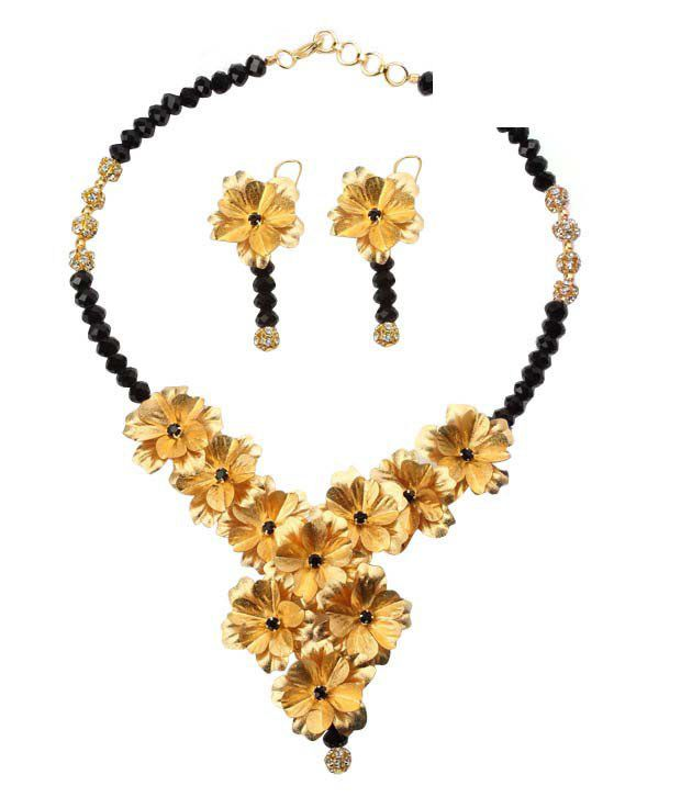 Aarya24kt Gold Foil Flower Necklace Set