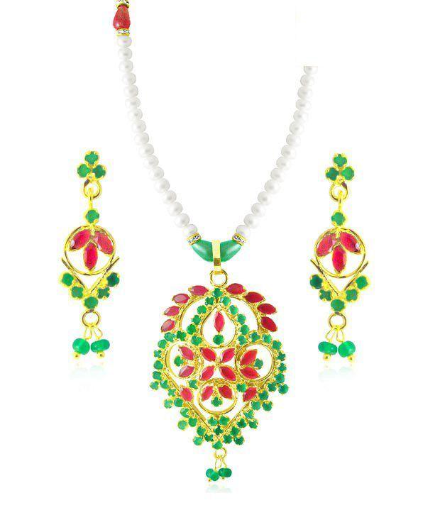 Sri Jagdamba Pearls CZ & Pearl Studded Glamorous Necklace Set