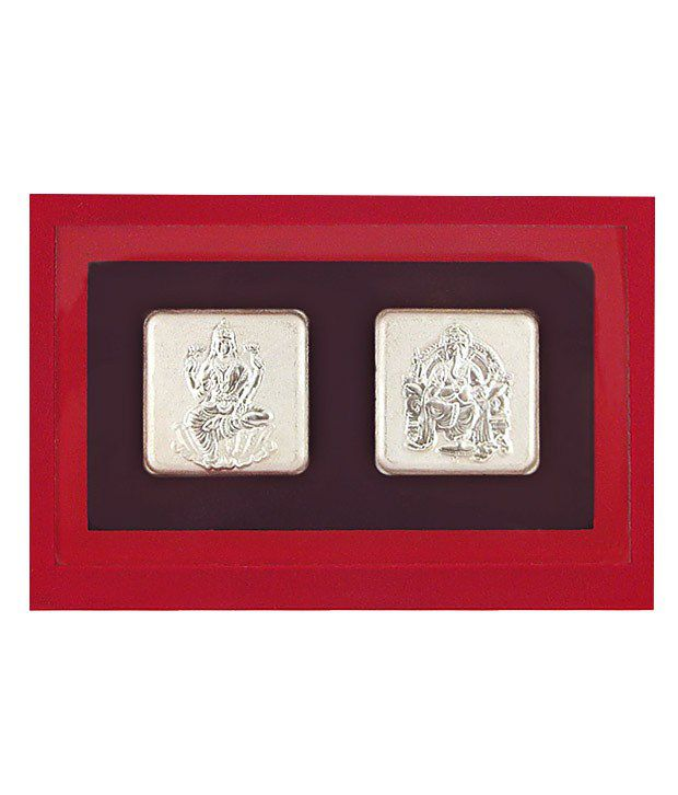 Sri Jagdamba Pearls Laxmi Ganesh Silver Coin