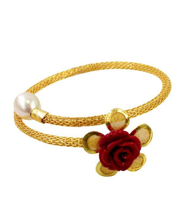 Niharikaa Red Coral Rose Bracelet