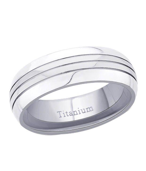 Peora Glossy Silver Titanium Ring