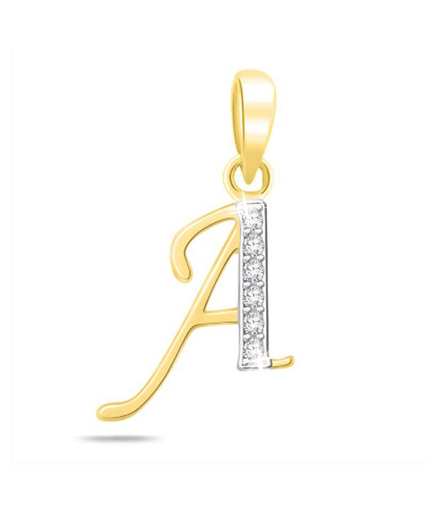 Sparkles 0.02ct. Diamond & 18kt Gold Alphabet `A` Pendant