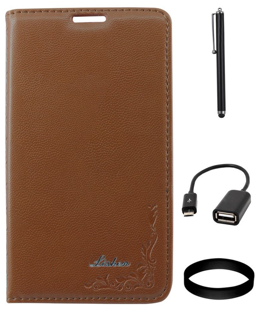 DMG LISHEN Premium Leather Flip Cover for Samsung Galaxy Note 3 N9000(Brown) + USB OTG Cable + Stylus
