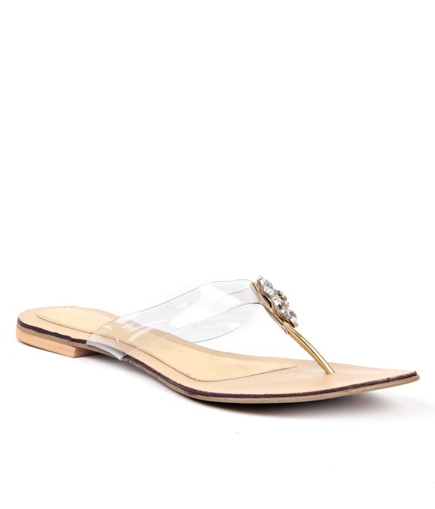 Reyna Trendy Golden Slip On Flats
