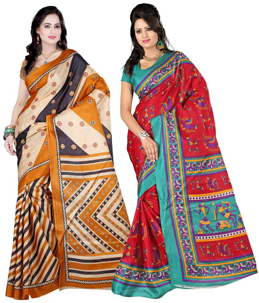 Sanju Impressive Maroon And Yellow Bhagalpuri Silk Sarees - Pack Of 2
