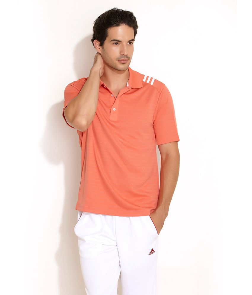 Adidas Climalite Textured Polo Orange T- Shirt