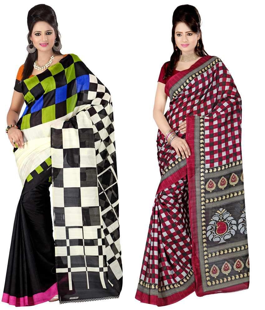 Kajal Classy Multi-colour Sarees- Set Of 2
