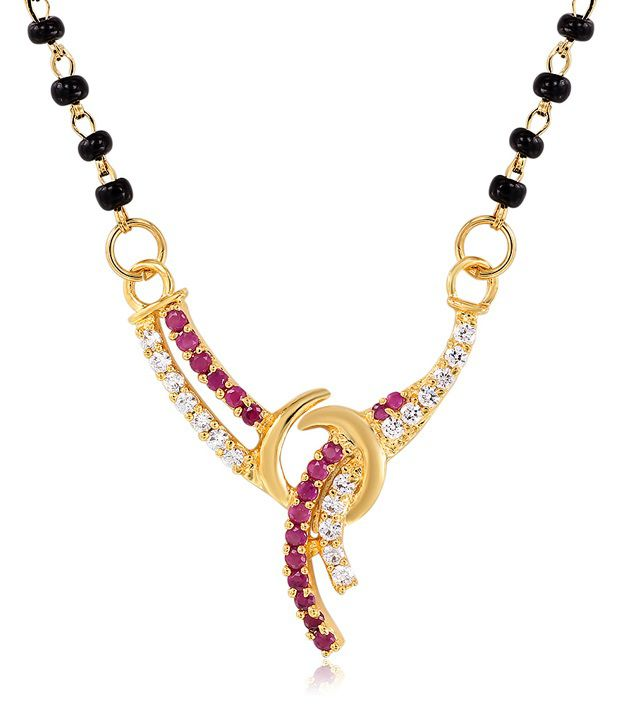 Mahi Gold Plated Sacred Love Mangalsutra Pendant with CZ and Ruby Stones