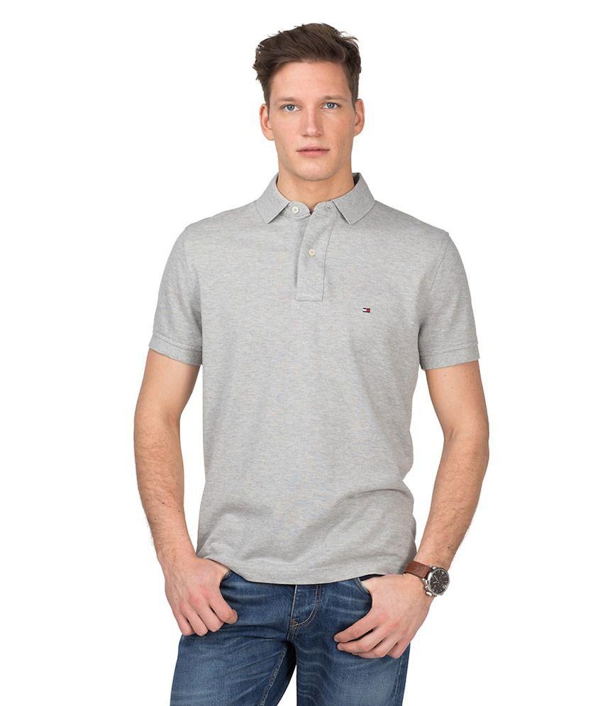 ba33820d Tommy Hilfiger Polo Pique Grey/Melange T-Shirt - Buy Tommy Hilfiger Polo  Pique Grey/Melange T-Shirt Online at Low Price - Snapdeal.com