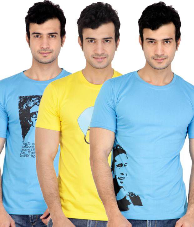 ZEZILE Blue Yellow Half Cotton Round  T-Shirt