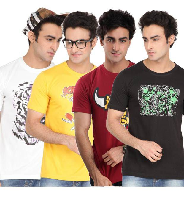 ZEZILE Multi Half Cotton Round  T-Shirt