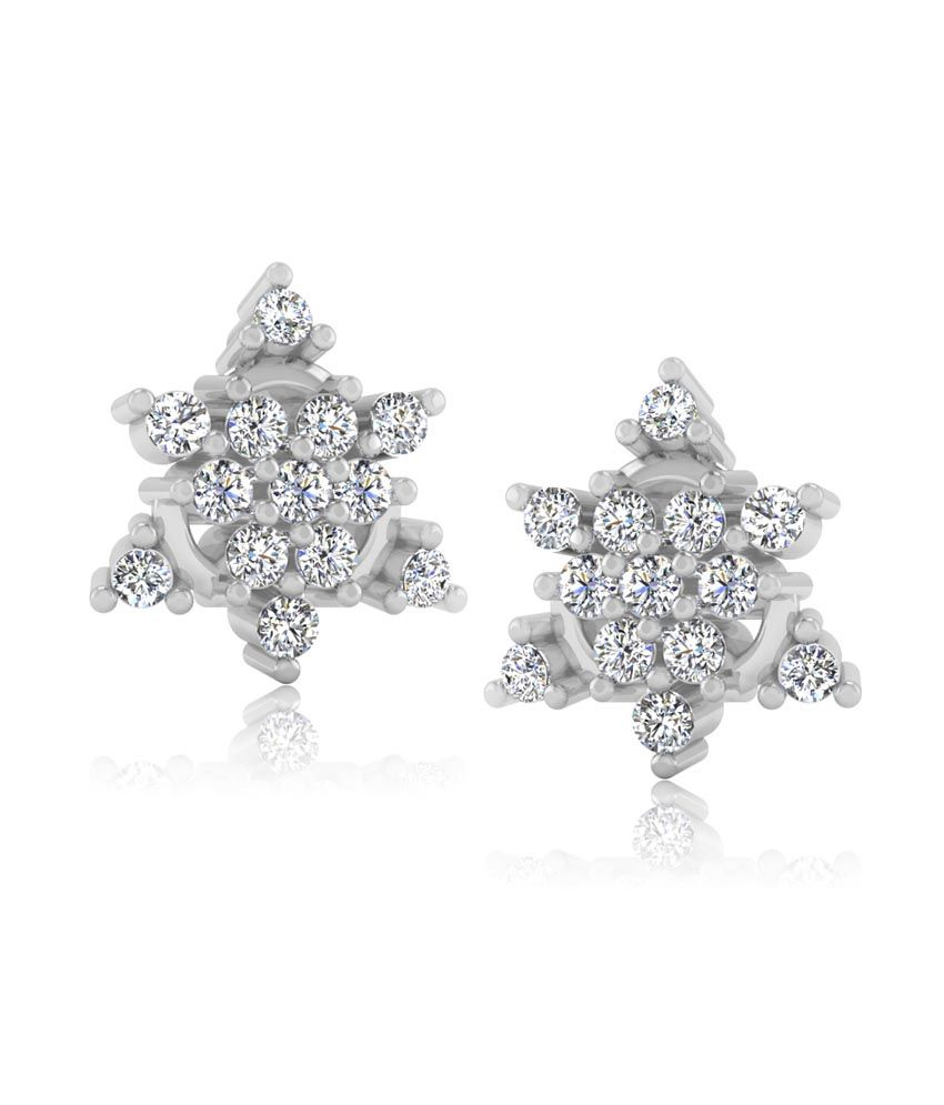 Forever Carat Real Diamond Paisly Earrings in 100% Certified 14kt Gold