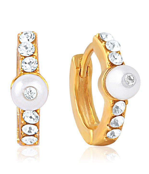 Mahi Gold Plated Crystal Stones Hoop Earrings For Women ER1100919G