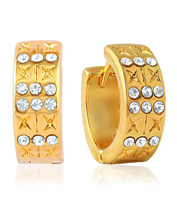 Mahi Eita Collection White Gold Plated Crystal Stones Hoop Earrings For Women ER1100313G