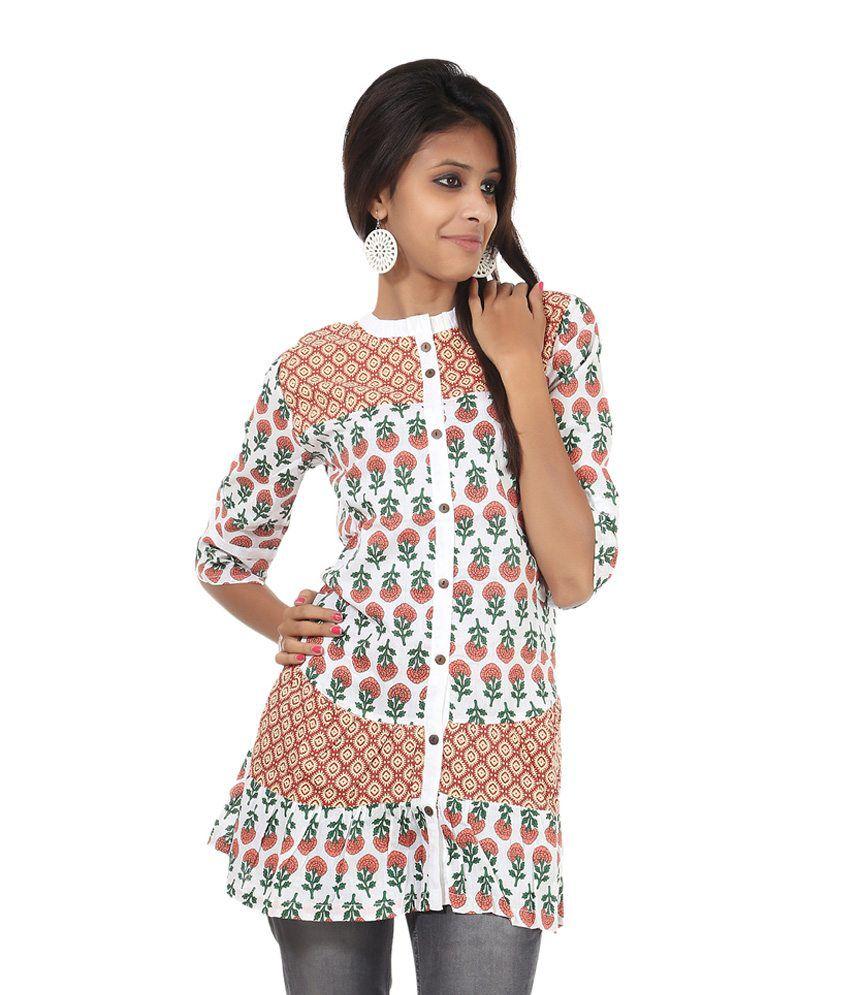 Rajrang Multi Color Printed Cotton 3/4th Medium Kurtis