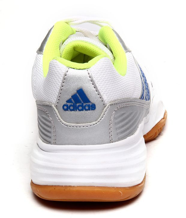 adidas comfortable white and blue sports shoes