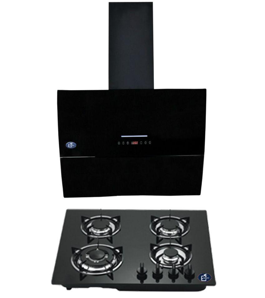 Elegant 1000 Suction Chimney ELE-1011 (60 CM) +  Elegant 4 Burner