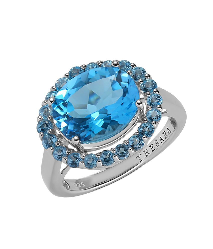 GemLN 92.5 Sterling Silver Blue Topaz Ring