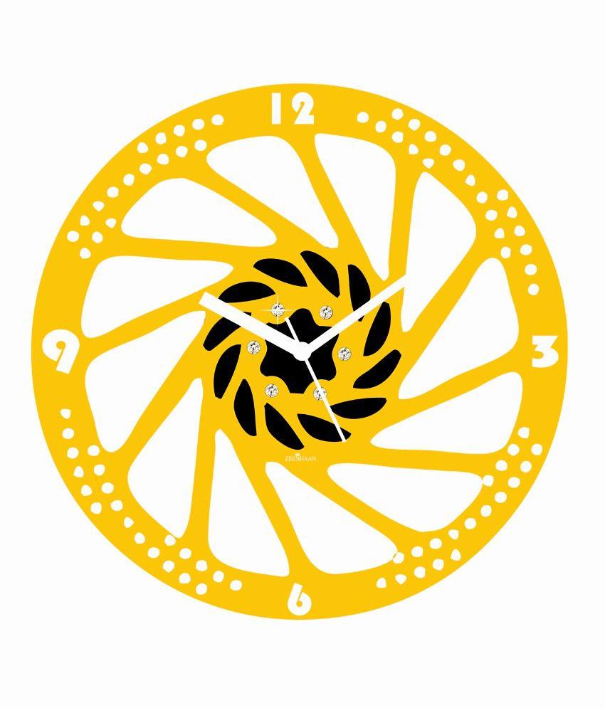 Zeeshaan Spinning Wheel Yellow Black Wall Clock Buy