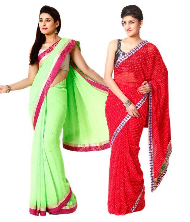 AVR Fashions Multi Color Embroidered Semi Chiffon SareesCombo of 2