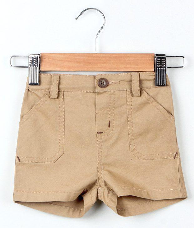 Beebay Beige Color Basic Shorts For Kids