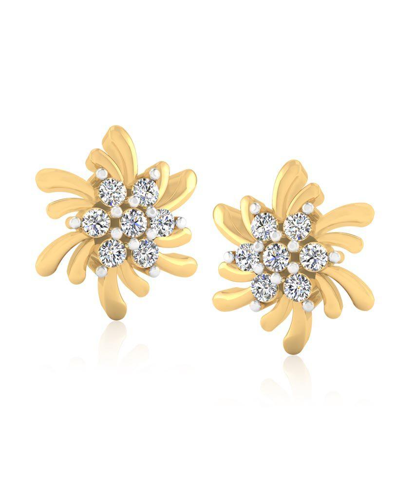 Forever Carat Real Diamond Stud Earrings in 100% Certified 925 Sterling Silver
