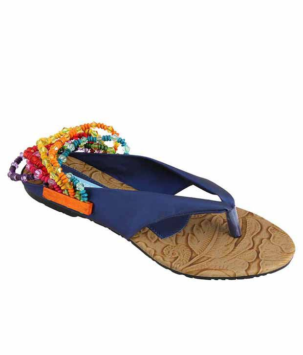 Metro Scintillating Blue Flat Sandals