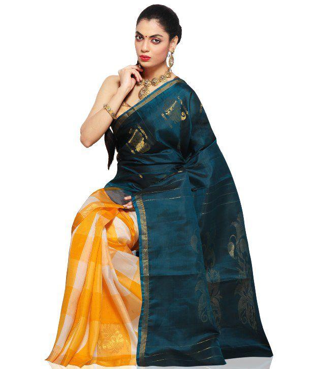 f61fbd8614a03d Utsav Fashion Teal Blue And Yellow Pure Kanchipuram Handloom Silk Saree  With Blouse - Buy Utsav Fashion Teal Blue And Yellow Pure Kanchipuram  Handloom Silk ...