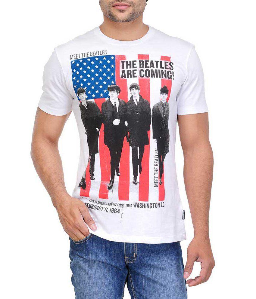White Kalia Beatles White Half   Cotton Round T-Shirt
