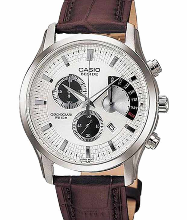 casio bem 501l 7av leather chronograph buy casio bem 501l 7av leather chronograph online at