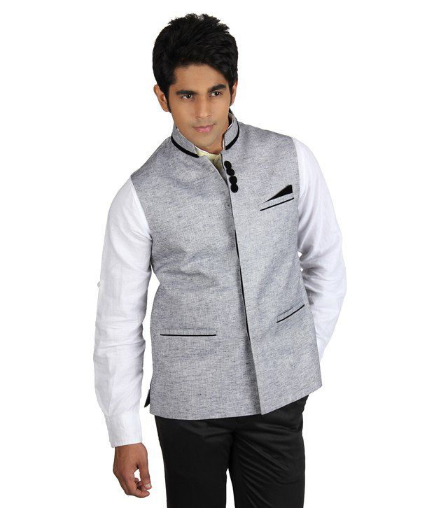 Platinum Studio Gray Sleeveless Cotton Blend Nehru Jackets