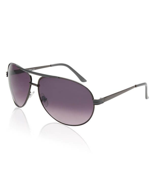 Colour Line Grey Enamelled Aviator Sunglasses