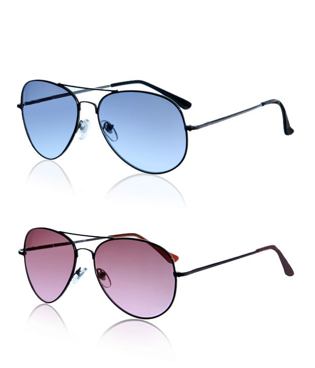 Just Colours Cool Black Aviator Sunglasses - Buy 1 Get 1 Free