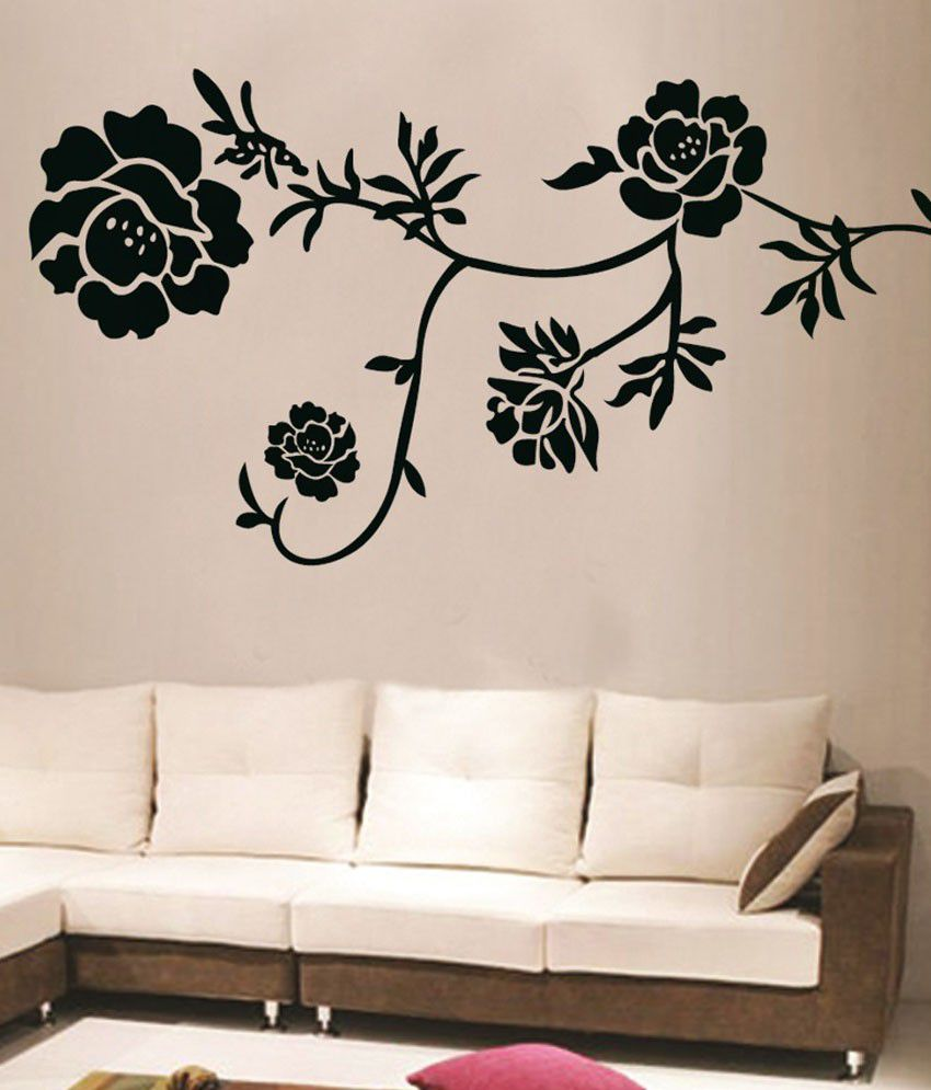 Decals arts black floral wall stickers buy decals arts black floral wall stickers online at - Flower wall designs for a bedroom ...