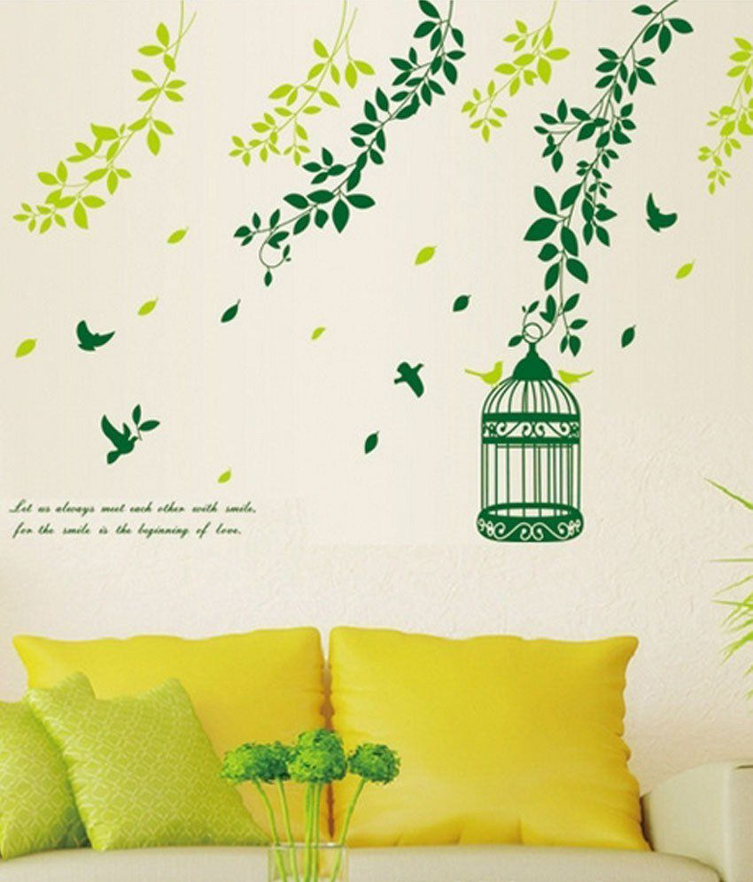 Wall stickers buy online - Syga Printed Pvc Vinyl Green Wall Stickers