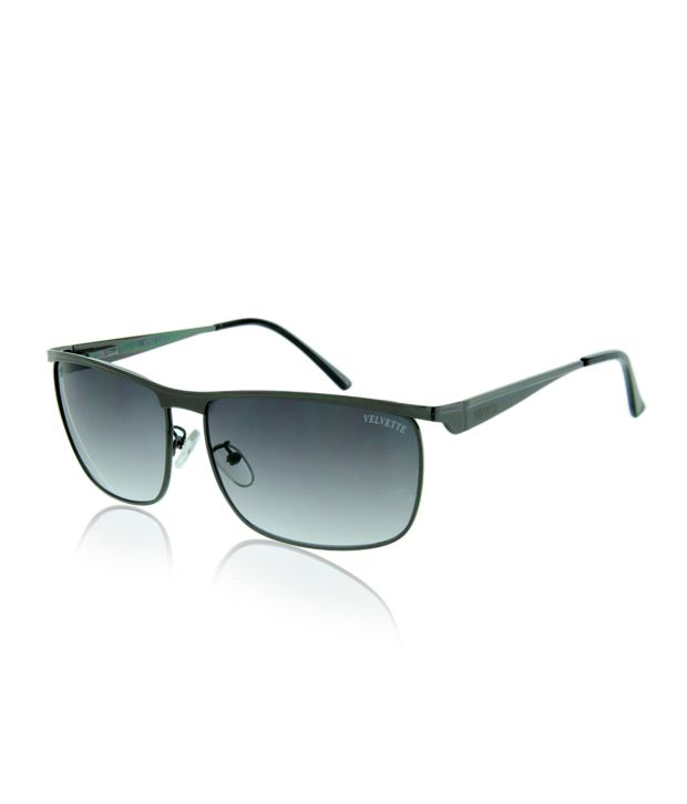 Velvette Black Rectangular Frame Sunglasses