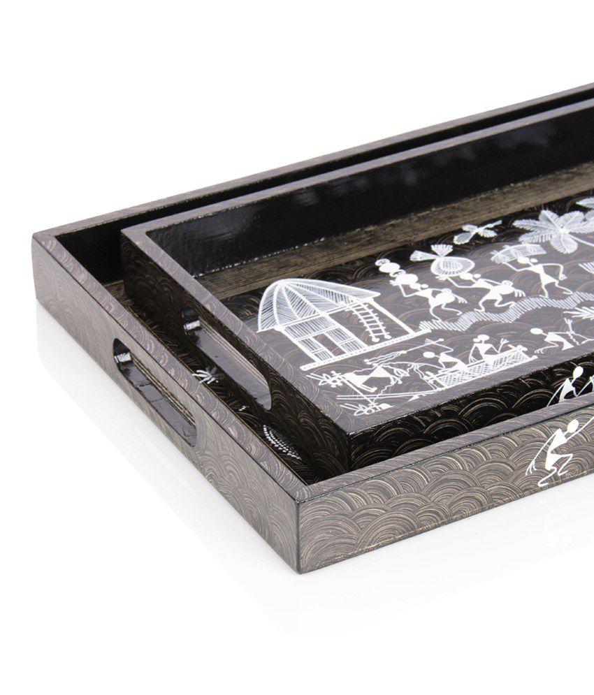 Exclusivelane Wooden Tray Set Handmade With Warli Art