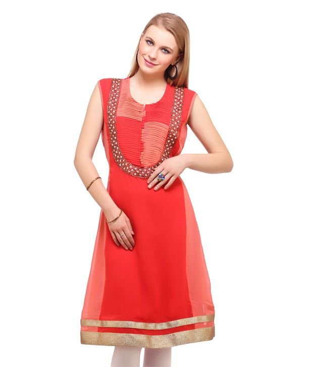 Suhi Red Embroidered Pure Georgette Sleeveless Long  Kurti