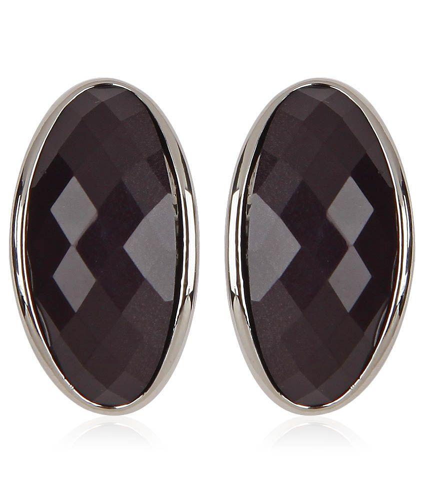 Trendy Baubles Black Stone Semi Hoop Earrings