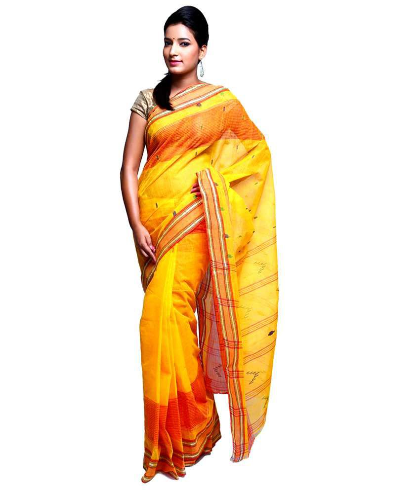 Vida Yellow Bengal Tant Cotton Saree