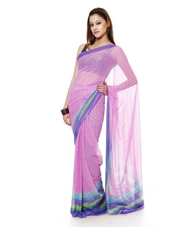 Aaditri Fashions Pink Semi Chiffon Saree