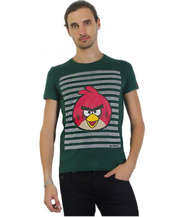 Angry Birds Green Half Cotton  Round  T-Shirt